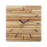 简单的木墙壁手表-被隔绝的方形的时钟 库存图片