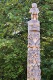 简单的木标识杆在温哥华 库存图片
