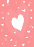 简单的桃红色和白色心脏 库存照片