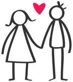 简单的棍子在爱红色心脏的计算愉快的夫妇,人,妇女握手 库存例证