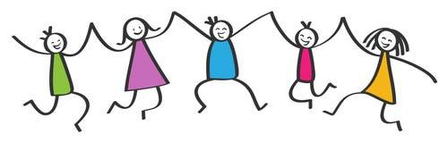 简单的棍子形象,跳跃五个愉快的五颜六色的孩子,举行手,微笑和笑 皇族释放例证