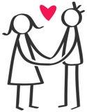 简单的棍子计算愉快的夫妇,人,拿着两只手红色心脏的妇女 皇族释放例证