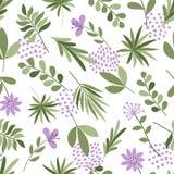 简单的植物样式 与花和小点的无缝的逗人喜爱的背景 也corel凹道例证向量 时尚印刷品的模板 库存图片