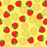 简单的概要红色和概述草莓 库存照片