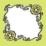简单的正方形与花和卷毛的色的被绘的传染媒介框架 免版税库存图片