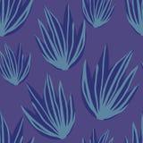 简单的热带芦荟离开无缝的样式 : 皇族释放例证