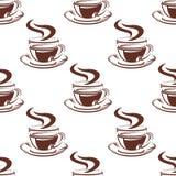 简单的热的咖啡杯无缝的样式 库存照片
