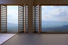 简单的现代日本客厅干净的山和天空窗口和看法  皇族释放例证
