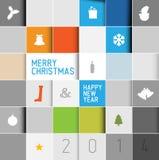 简单的现代minimalistic传染媒介圣诞卡 免版税库存图片
