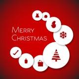 简单的现代minimalistic传染媒介圣诞卡 库存图片