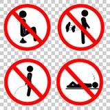 简单的禁止标志,不船尾屁小便和睡眠在透明作用背景 向量例证
