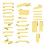 简单的米黄丝带横幅集合 一行 图库摄影
