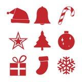 简单的红色圣诞节装饰品象集合,传染媒介例证 免版税库存图片