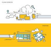 简单的线平的设计云彩服务&分享,现代传染媒介例证 免版税库存照片
