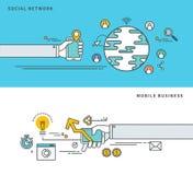 简单的线平的设计社会网络&流动商业,现代传染媒介例证 免版税图库摄影