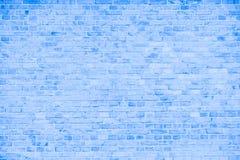 简单的脏的蓝色和白色砖墙有浅灰色的树荫无缝的样式表面纹理背景 库存图片