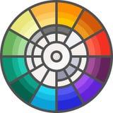 简单的艺术性和爱好传染媒介FlatÂ象 采摘的颜色三原色圆形图 向量例证