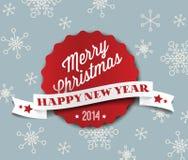 简单的葡萄酒减速火箭的传染媒介圣诞卡2014年 免版税库存图片