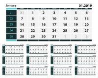 简单的蓝色和灰色日历设计在2019年 向量例证
