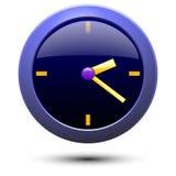 简单的蓝色壁钟的例证 库存照片