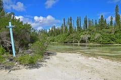 简单的蓝色木标志& x22; 自然Pool& x22;显示在的方向离开小河的河岸 库存照片