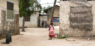 简单的街道在非洲村庄 免版税库存照片