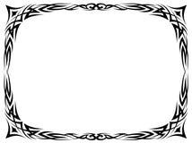 简单的黑色纹身花刺装饰装饰框架 免版税库存照片