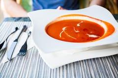 简单的经典蕃茄汤 免版税库存照片