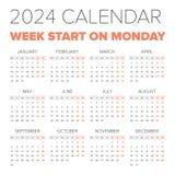 简单的2024年日历 库存照片