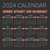 简单的2024年日历 库存图片