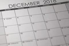 简单的12月2018日历 星期从星期天开始 免版税库存图片