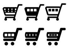 黑简单的购物车,台车,增加到推车项目,买按钮 库存照片