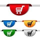简单的购物车-在绿色,蓝色,红色,桔子和银标签的台车 项目,网页的购买按钮 图库摄影