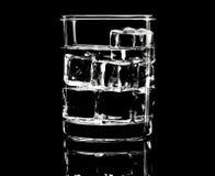 简单的玻璃剪影与冰块的在低调照明设备 免版税库存图片