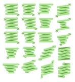 简单的绿色丝带横幅集合 四行 免版税库存照片