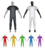 简单的T恤杉和sweatpants在时装模特模板 免版税库存照片