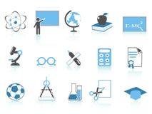 简单蓝色教育图标的系列 免版税库存照片