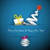 简单蓝色看板卡的圣诞节 免版税图库摄影