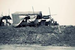 简陋小木屋,洞里萨湖,暹粒,柬埔寨 库存照片