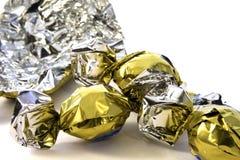 箔包装的巧克力 免版税库存照片
