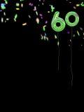 箔样式有五彩纸屑的生日气球 第60个生日 库存图片