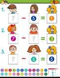 算术与孩子字符的减法比赛 库存照片