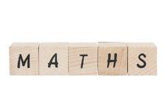 算术写与木块。 免版税库存照片