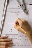算术和代数家庭作业 库存图片