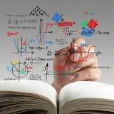 算术和在whiteboard的科学配方 免版税库存照片