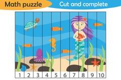 算术在动画片样式,学龄前孩子,用途剪刀的发展的教育比赛的难题、美人鱼和海洋世界水中 向量例证