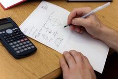 算术家庭作业 库存照片