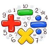 算术标志和数字 皇族释放例证