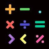 算术标志在黑背景中 图库摄影