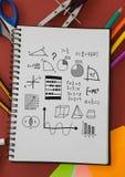 算术绘制在笔记薄的图画图表与文具 库存图片